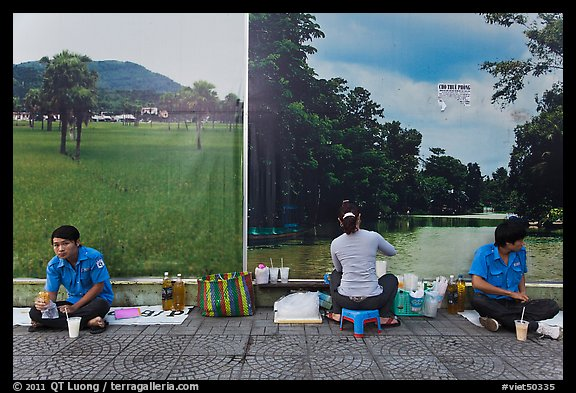 Male students, female food vendor, and landscapes. Ho Chi Minh City, Vietnam