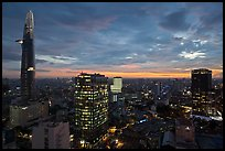 Bitexco Tower and city skyline at sunset. Ho Chi Minh City, Vietnam (color)