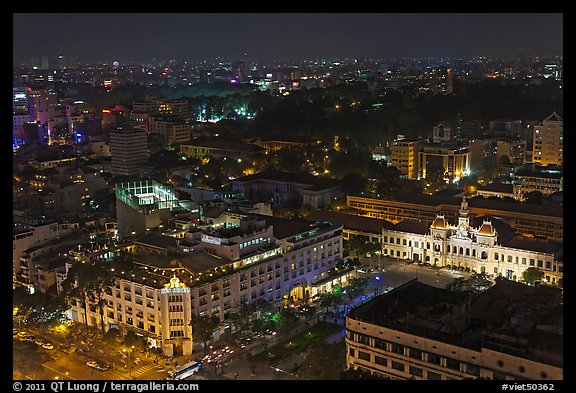 Peoples Committee building and Rex Hotel at night. Ho Chi Minh City, Vietnam (color)