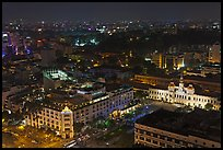 Peoples Committee building and Rex Hotel at night. Ho Chi Minh City, Vietnam ( color)
