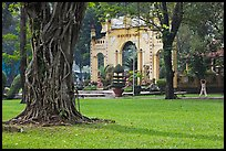 Tree, lawn, and gate, Cong Vien Van Hoa Park. Ho Chi Minh City, Vietnam (color)