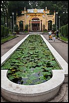 Waterlilly basin and temple gate, Cong Vien Van Hoa Park. Ho Chi Minh City, Vietnam (color)