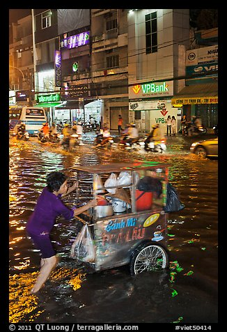 Vendor pushing foot car into the water at night. Ho Chi Minh City, Vietnam (color)