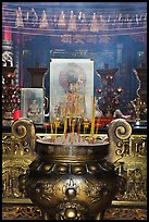 Urn and incense, Ha Chuong Hoi Quan Pagoda. Cholon, District 5, Ho Chi Minh City, Vietnam