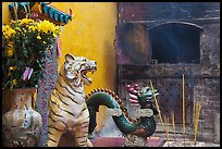 Ceramic tiger, dragon, and oven, Quan Am Pagoda. Cholon, District 5, Ho Chi Minh City, Vietnam