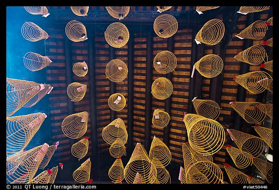 Incense coils and roof from below, Thien Hau Pagoda. Cholon, District 5, Ho Chi Minh City, Vietnam (color)