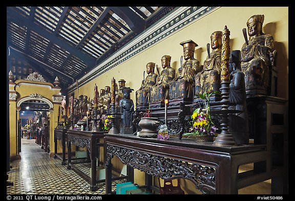 Row of statues, Giac Lam Pagoda, Tan Binh District. Ho Chi Minh City, Vietnam (color)