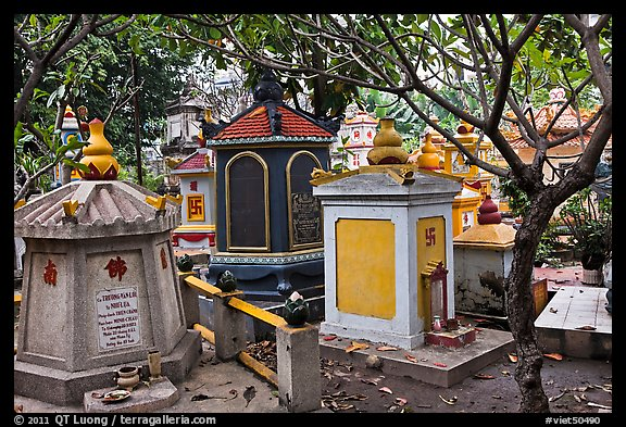 Buddhist graves, Giac Lam Pagoda, Tan Binh District. Ho Chi Minh City, Vietnam (color)