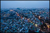 View of Cholon, from above at dusk. Cholon, Ho Chi Minh City, Vietnam ( color)