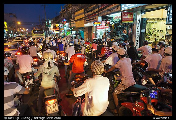 Traffic jam at rush hour. Ho Chi Minh City, Vietnam (color)