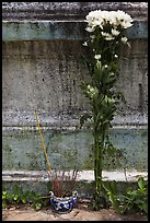 Incense and flowers next to tomb. Ben Tre, Vietnam ( color)