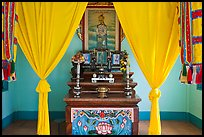 Yellow curtains, Altar, Saigon Caodai temple, district 5. Ho Chi Minh City, Vietnam (color)