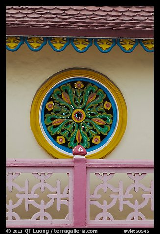 Circular motif, Saigon Caodai temple, district 5. Ho Chi Minh City, Vietnam