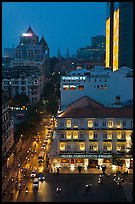 Hotel Continental, streets, and Basilica at night. Ho Chi Minh City, Vietnam ( color)