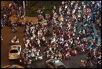 Traffic from above, intersection of Nguyen Hue and Le Loi. Ho Chi Minh City, Vietnam (color)