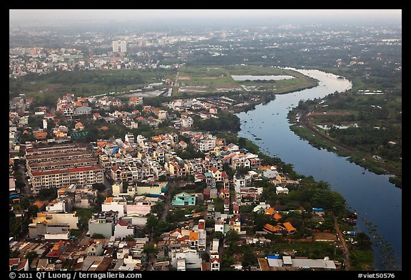 Aerial view of river and urban areas. Ho Chi Minh City, Vietnam (color)