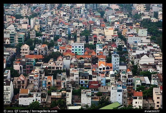 Aerial view of houses. Ho Chi Minh City, Vietnam (color)