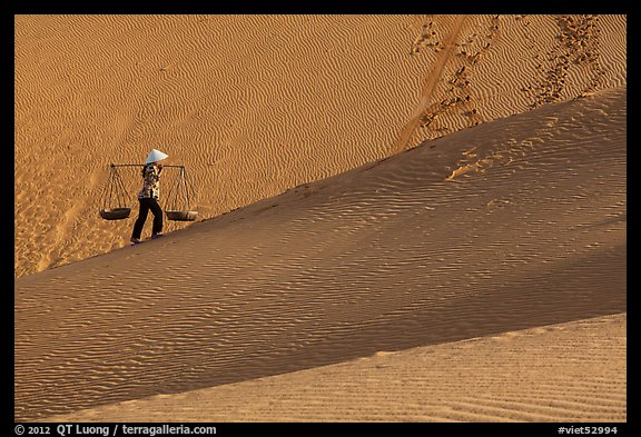 Woman ascending dune ridge with two baskets. Mui Ne, Vietnam (color)
