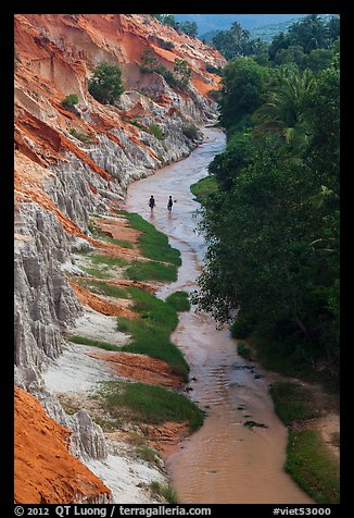 Fairy Stream and two hikers from above. Mui Ne, Vietnam (color)