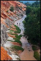 Fairy Stream and two hikers from above. Mui Ne, Vietnam ( color)