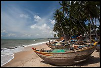 Beach with palm trees and fishing boats. Mui Ne, Vietnam ( color)