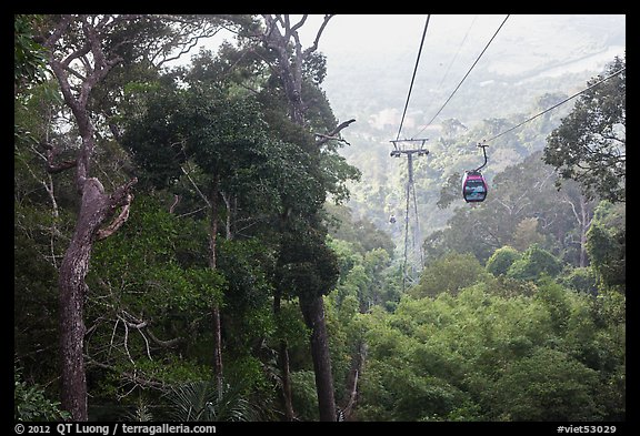Cable car and tropical forest. Ta Cu Mountain, Vietnam (color)