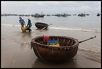 Traditional roundboats on beach. Mui Ne, Vietnam (color)