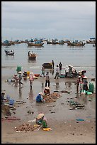 Fishing activity on beach near Lang Chai. Mui Ne, Vietnam (color)