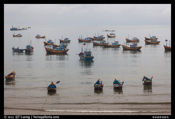 Fishing boats moored at the fishing beach. Mui Ne, Vietnam (color)