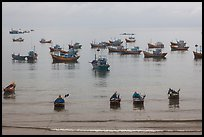 Fishing boats moored at the fishing beach. Mui Ne, Vietnam ( color)