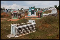 Cemetery with tombs and tumuli. Mui Ne, Vietnam ( color)