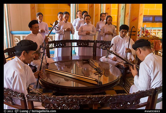 Musicians on mezzanine, Great Temple of Cao Dai. Tay Ninh, Vietnam (color)