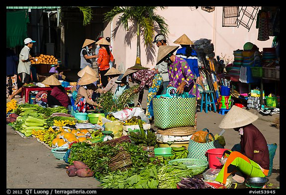Vegetables for sale at market, Cai Rang. Can Tho, Vietnam (color)