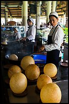 Crispy spherical shells beeing prepared. Mekong Delta, Vietnam ( color)