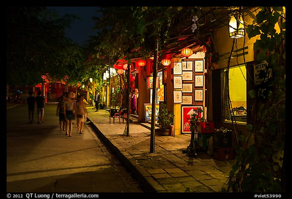 Street lined with art galleries by night. Hoi An, Vietnam (color)