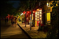 Street lined with art galleries by night. Hoi An, Vietnam ( color)