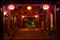 View through the inside of Covered Japanese Bridge at night. Hoi An, Vietnam ( color)