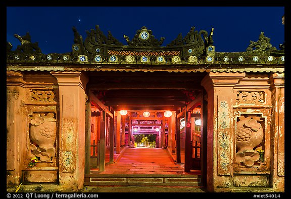 Covered Japanese Bridge gate at night. Hoi An, Vietnam (color)