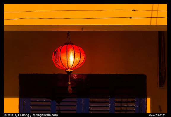 Paper lantern at night. Hoi An, Vietnam (color)