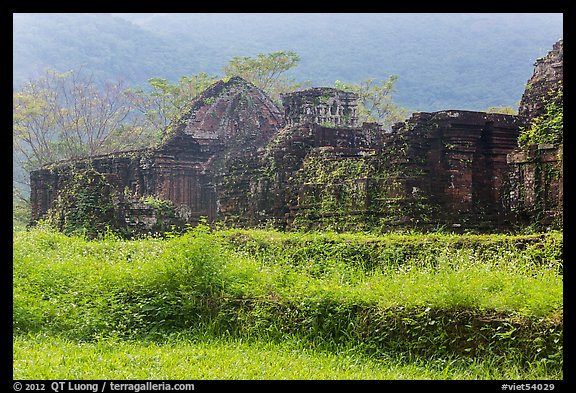 Ruined cham temples in the mist. My Son, Vietnam (color)