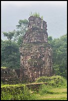 Ruined cham tower in the mist. My Son, Vietnam (color)