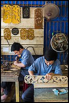 Wood carving workshop. Hoi An, Vietnam (color)