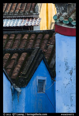 Roofs and blue walls detail. Hoi An, Vietnam (color)