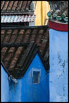 Roofs and blue walls detail. Hoi An, Vietnam ( color)