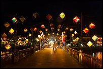 Cam Nam bridge with lighted lanterns at night. Hoi An, Vietnam (color)