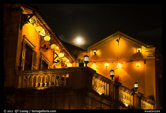 House with lanterns and moon. Hoi An, Vietnam (color)