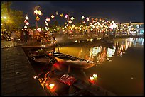 Cam Nam bridge on lantern festival night. Hoi An, Vietnam (color)