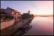 Sunrise over river and waterfront houses. Hoi An, Vietnam ( color)