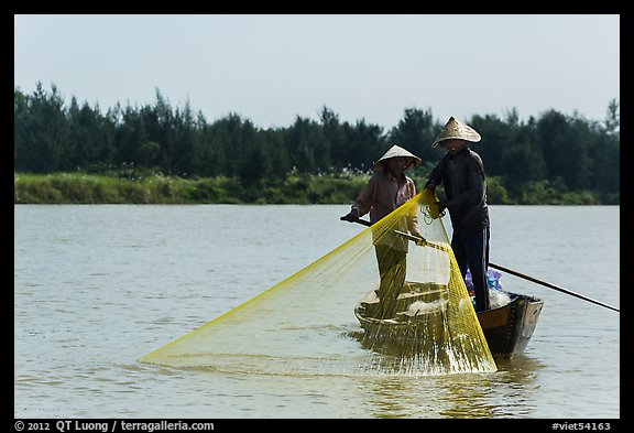 Fishermen standing in boat retrieving net, Thu Bon River. Hoi An, Vietnam (color)