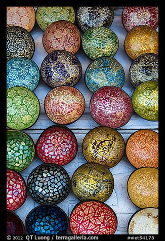 Close up of decorated bowls. Hoi An, Vietnam (color)